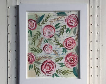 Original Flower Collage // Paint and Torn Paper Collage // Original Floral Art // Original Collage and Painting // Floral Pattern Art