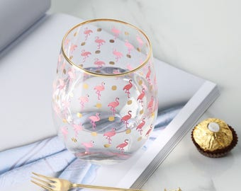 Pink  Flamingo Glass Water Cup Gold Flamingo Cup