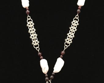 Sterling Silver Chain Maille and Garnet Necklace