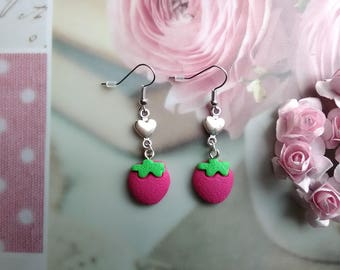 """Strawberry """"girly"""" - jewelry polymer clay earrings"""