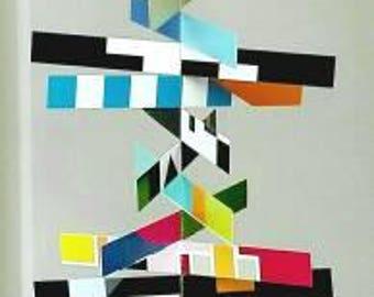 Sewn paper mobile geometric pattern colorful