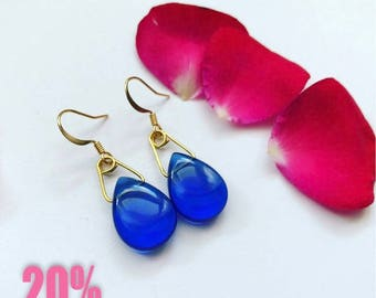 Gold plated earrings royal blue crystal drops