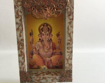 SALE ! Ganesh wooden frame box-Altar-Meditation rooms - Ganesha image - gift decor