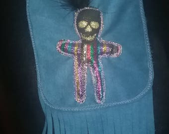 Recycled fabric blue suede fringed purse voodoo doll purse mardi gras purse Ooak