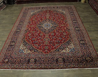 Fine Great Shape Handmade Kashan Ghotbi Persian Rug Oriental Area Carpet 10X13