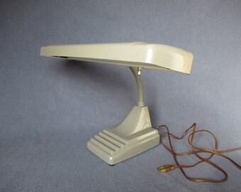 Industrial Gray Gooseneck Office Lamp, Fluorescent Industrial Lamp, Vintage Industrial Lighting, Industrial Lamp Corp 1950s Desk Light