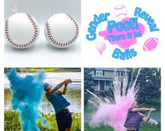 SOFTBALLS 2x Powder of Baseballs Gender Reveal Balls Pack (Custom Color Combinations and Styles)