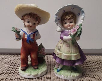 Country boy & girl porcelain figurine by Lefton in1970s