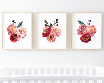Coral Floral Watercolor set of 3 digital art prints - pink coral floral wall art printables set of 3 instant download art 8x10 and 11x14