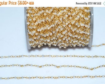 50% OFF Beautiful White Cubic Zirconia Faceted Rosary Beaded Chain-White Cubic Zircon Gold Wire Beaded Chain , 2.50 mm - RB5264