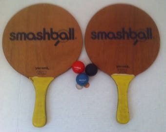 Vintage Set of Smashball Paddles, 2 of them, and 3 Rubber Smash Balls, Red, Black and Blue, Paddles are 16 x 10 inches