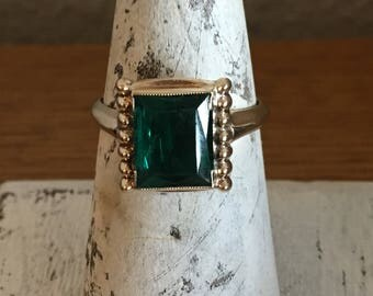 Vintage 10 Karat Gold and 3 Carat Synthetic Emerald Ring- Emerald Cut Solitaire Ring in 10K Gold Setting- 1950's Gold and Emerald Ring
