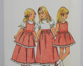 Vintage Simplicity Pattern 5383 Child Size 4 Dress & Pinafore Prairie Dress 1972