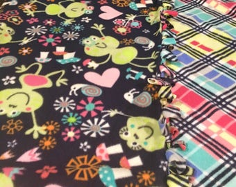 FROGs Love Lilly PADs! handmade fleece blanket designed by JAX. A vibrant&colorful Frog themed throw that tells the world your a frog lover!