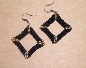 Black and Gold Diamond Earrings