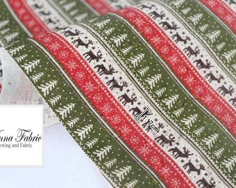 50cm | Waterproof Fabric | Linen | Red & Green | Christmas
