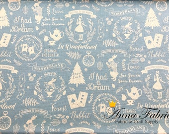 Japanese Fabric | Japanese Cotton linen fabric | Kokka | Silhouette Alice in wonderland | 50cm | 1/2 yard |  - clock, rabbit, teatime