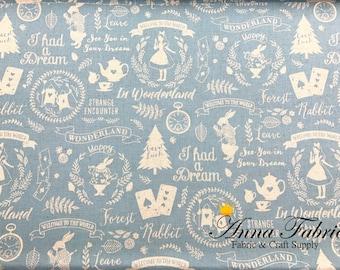 Japanese Fabric   Japanese Cotton linen fabric   Kokka   Silhouette Alice in wonderland   50cm   1/2 yard    - clock, rabbit, teatime