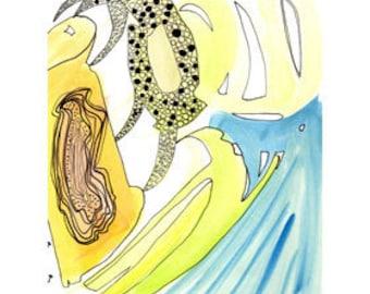 Cascade - art print of an original drawing