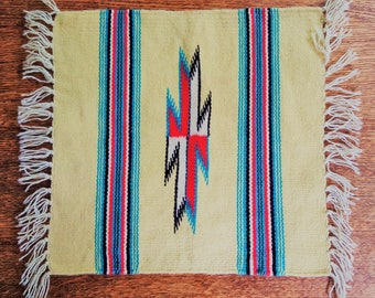 Mexican Woven All Wool Mat Vintage Southwest Purchased Place Mat