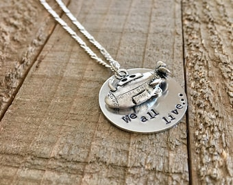 Beatles necklace-Yellow submarine necklace-handstamped necklace-yellow submarine jewelry-Beatles jewelry-gift