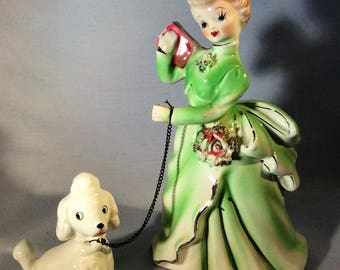 Vintage Southern Bell in Green Dress with Poodle on Chain Holding Book - 1950's Figurine - Girl with Poodle - Gift for Poodle Lover