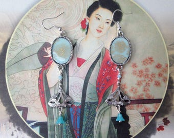 """Earrings """"Art Déco"""" silver and Japanese paper sky and gold."""