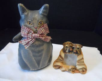Canvas Painted Gray Cat Red And Cream Bow, Small Table Top Shar Pei Picture  Frame