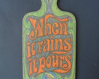 Vintage Morton's Salt Wood Cutting Board - When It Rains It Pours   1623
