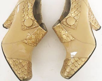 Bellini | Vintage 1990's Gold Booties / 90's Ankle Boots / Golden and Tan Boots