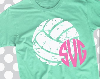 Volleyball svg, distressed svg, monogram svg, volleyball, dxf, eps, png, beach svg, lobster, files for cricut, iron on decal, preppy svg