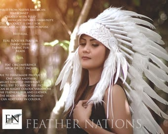 WHITE INDIAN HEADDRESS, Rooster Duck Headdress, Native American Warbonnet, White Warbonnet, Medium Length Warbonnet, Indian Headdress