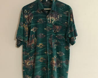 Vintage Mens Short Sleeve Pattern Shirt