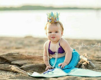 Purple & Aqua Sequin Mermaid Set, Aqua Sequin Mermaid Tail with Enclosed Realistic Fin, Infant and Girls Mermaid Photo Set, Mermaid Tail