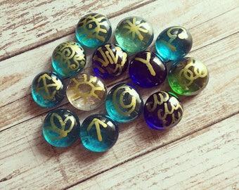 Witches Runes- Mermaid Runes- Blue Runes/ Green Runes/ Rune Set/ Glass Runes/ Divination/ Witches Rune Set