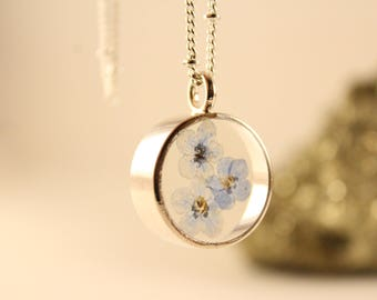 Real Flower Resin Jewelry, Forget Me Not Flower Necklace, Open Bezel Pendant, Silver Chain