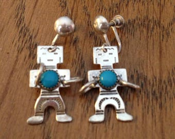 Sterling Silver Turquoise Aztec Indians Screwback Earrings