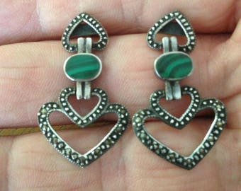 Malachite and Marcasite Sterling Silver Heart Earrings