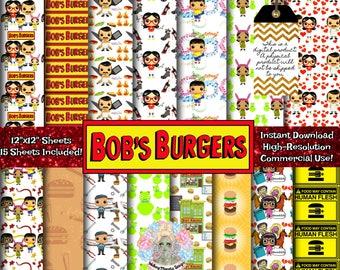 BOB'S BURGERS Digital Paper, Bobs Burgers Print, Bobs Burgers Tina, Bob's Burgers Kids, Tina Bob's Burgers, Louise Belcher Hat, Bob Belcher