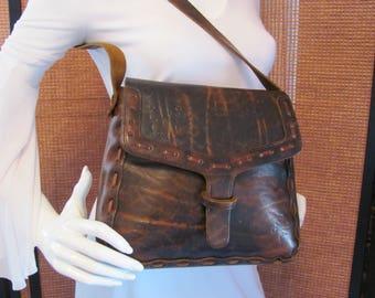TOOLED LEATHER PURSE, Vintage Messenger Bag, Retro Leather Hippie Purse, Hand Tooled Leather Shoulder Bag, Leather Purse with Tooled Flowers