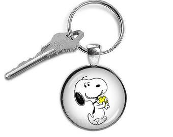 Snoopy and Woodstock Key Chain Snoopy Key Ring Snoopy Keyfob Fandom Jewelry Cosplay Fangirl Fanboy