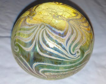 Vintage 1974 Handblown Glass Art Paperweight signed