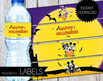 Mickey & Minnie Mouse HALLOWEEN Party PRINTABLE Water Bottle LABELS- Instant Download | Disney | Mickey and Minnie