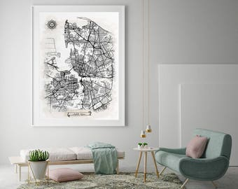 NORFOLK Virginia Watercolor Map Art Black Ink and Light Watercolor Norfolk VA Vintage City Map Large Size Graphic Drawn Wall Art Canvas Map