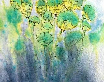 """Art  abstrait contemporain - Encres sur papier """"Envolées 2""""  -oeurvre originale -  Encre vert/bleu"""