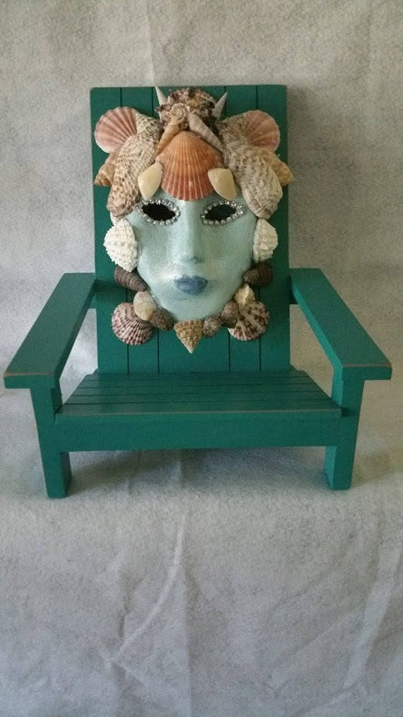 Handmade, One of a Kind, Original, Mask Covered With Sea Shells Sitting in A Miniature Wooden Beach Chair by Maskweaver, Soraya Ahmed