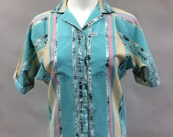 1980s 1990s Cabrais Print Top with Raglan Sleeves | Size Small | Size 6
