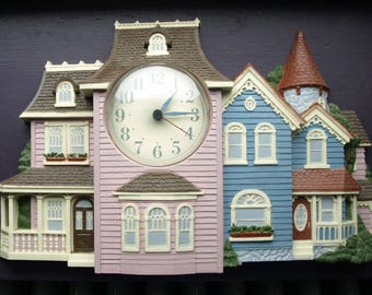 Vintage Burwood Products New Haven Quartz Victorian House with Gable Roof Wall Clock no. 2910 circa 1988 - Rare