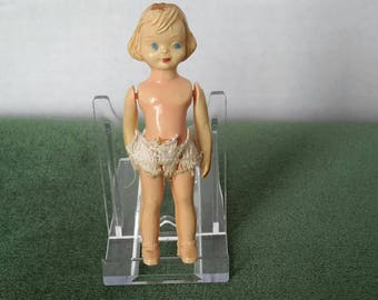 """Vintage Celluloid Doll. Very Sweet Little Dolly in need of a Dress! 4.3""""  c1930s"""