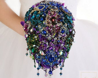 Purple Blue Wedding Bouquet Purple Bridal Bouquet Purple Brooch Bouquet Crystal Bouquet Rhinestone Bouquet Wedding Jewelry Wedding Dress